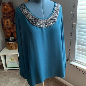 Maurice's sheer blue bling blouse